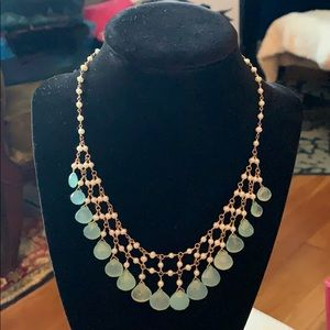 BLUE CHALCEDONEY and PEARL Necklace